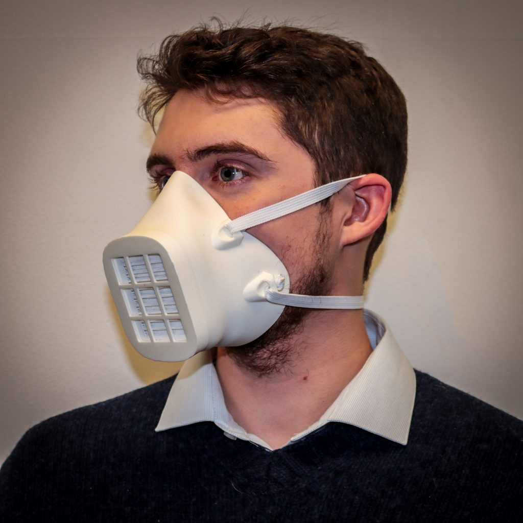 The BEmask is a 3D-printable reusable mask with replaceable filter inserts. Derived from the Montana Mask, it incorporates improvements to materials, fit, assembly process, seal, structure, sizing, and filter cartridge design.