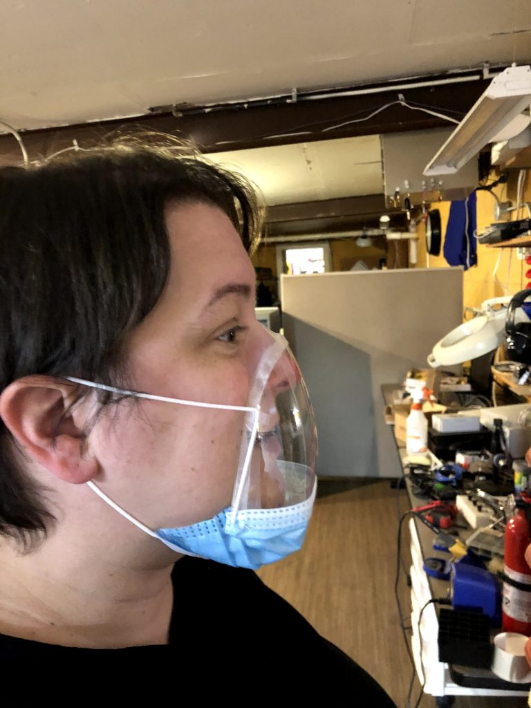 Early prototypes for the BEcycle mask design using 1-liter plastic bottles