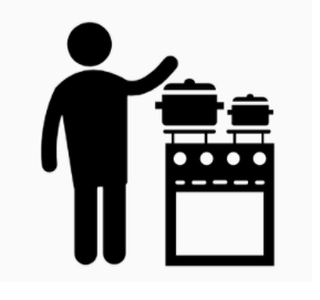 Icon showing stove with pots of water for thermoforming