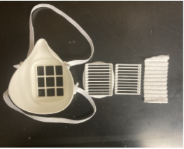 Disassembled 3D printed mask with corrugated filter assembly